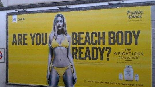 Protein World's beach body ad on the London underground